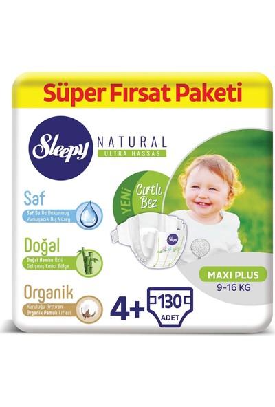 Sleepy Natural Bebek Bezi 4+ Numara Ma x i Plus Süper Fırsat Paketi 9 - 16 kg 130 Adet