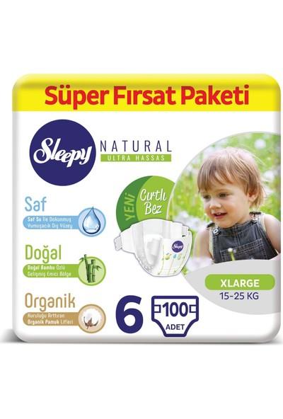 Sleepy Natural Bebek Bezi 6 Numara x large Süper Fırsat Paketi 15-25 Kg 100 Adet