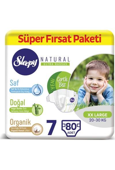 Sleepy Natural Bebek Bezi 7 Numara xxLarge Süper Fırsat Paketi 20 - 30 kg 80 Adet