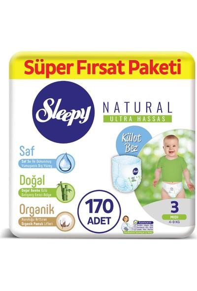 Sleepy Natural Külot Bez 3 Numara Midi Süper Fırsat Paketi 4 - 9 kg