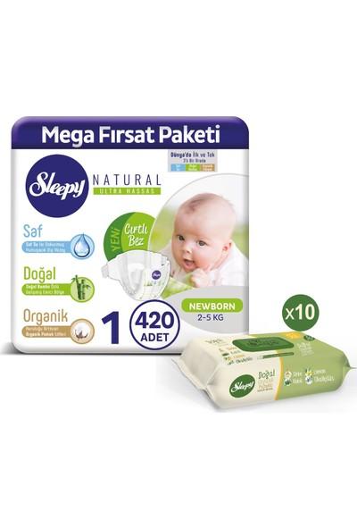 Sleepy Bebek Bezi 1 Numara Yenidoğan 420'LI Pamuklu Temizlik Havlusu 10'lu