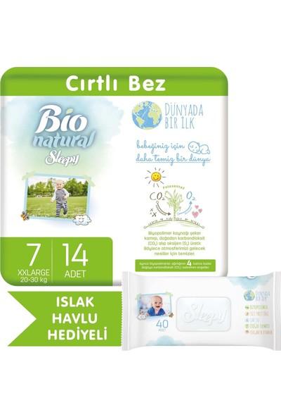 Sleepy Bio Natural Bebek Bezi 7 Numara Xxlarge 14 Adet + Bio Natural Islak Havlu Hediyeli