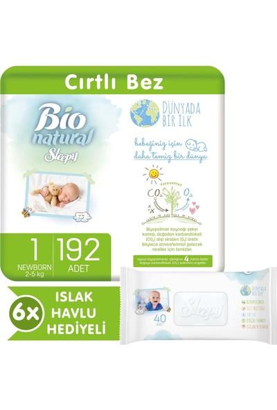 Sleepy Bio Natural Bebek Bezi 1 Numara Yenidoğan 192 Li 6X40 Bio Natural Islak Havlu