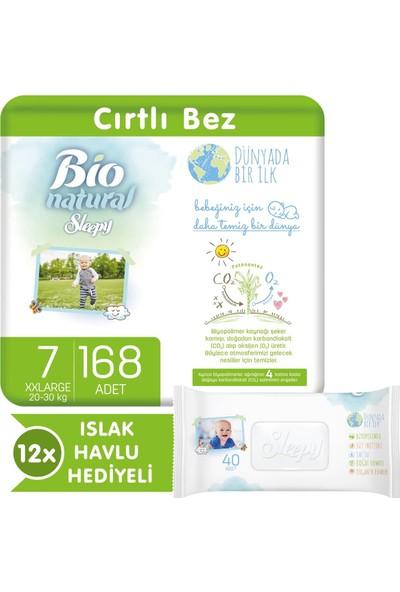 Sleepy Bio Natural Bebek Bezi 7 Numara Xxlarge 168 Adet + 12X40 Bio Natural Islak Havlu