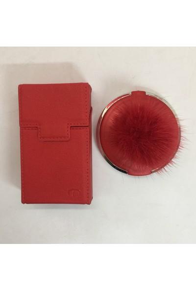 Baskı Adresi İsme Özel Kısa Normal Paket Uyumlu Deri Sigara Kutusu ve Tüylü Çift Taraflı Ayna Kırmızı Renk
