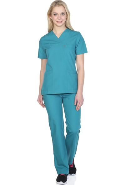 TıpMod Açık Yeşil Terikoton Doktor / Hemşire Forması Nöbet Takımı