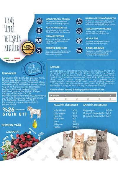 Exclusion Düşük Tahıllı Monoprotein Sığır Etli Yetişkin Kedi Maması 300 GRM8011259003706