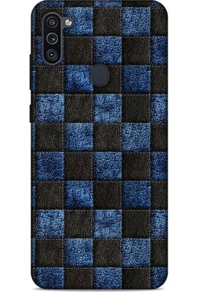 Lopard Samsung Galaxy M11 Kılıf Patchwork (9) Kılıf Siyah Mavi