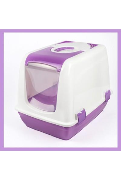 Cabarre K.kedi Tuvaleti, Paspası ve Yuvarlak Büyük Mama Kabı ve Kürek Mor