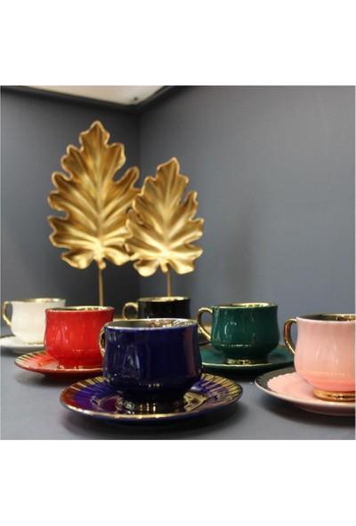 Arow 6 Li Lüks Renklı Iç Kısmı Altın Sıvama Fincan
