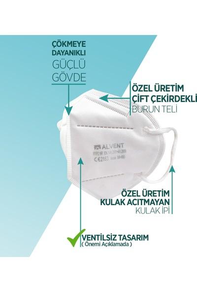 Alvent Ffp2 Ventilsiz Çift Meltblown Katmanlı Maske Iso ve Ce Sertifikalı 20 Adet