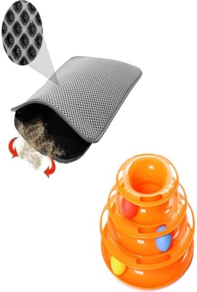 Tineke 2 Li Set Tower Of Tracks Kedi Oyuncağı + Elekli Kedi Tuvalet Paspası (Gri