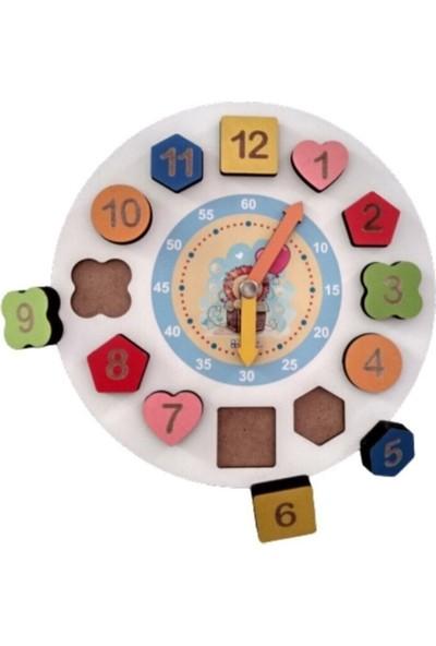 Ayas Eğitici Oyuncak 4'in 1 Set Eğitici Ahşap Oyuncaklar Selefon Geometrik Saat Montessori Şekiller Sayılar Puzzle Bultak