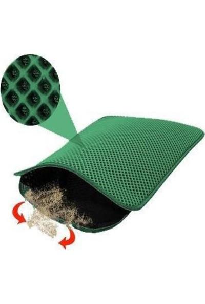 Tineke Elekli Kedi Tuvalet Önü Paspası 60X42,5 cm Gri Kedi Paspası Yeşil