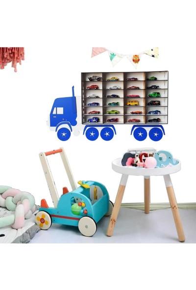 Woodylife Çocuk Odası Mavi Oyuncak Araba Rafı Tombul Kamyon