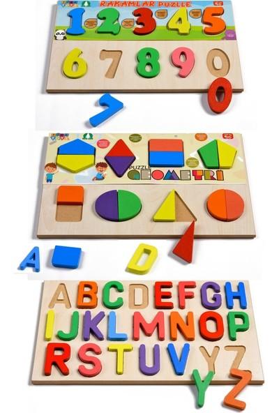 Türk Toys Ahşap Puzzle 3'ü 1 Arada Set Alfabe-Geometri-Sayılar