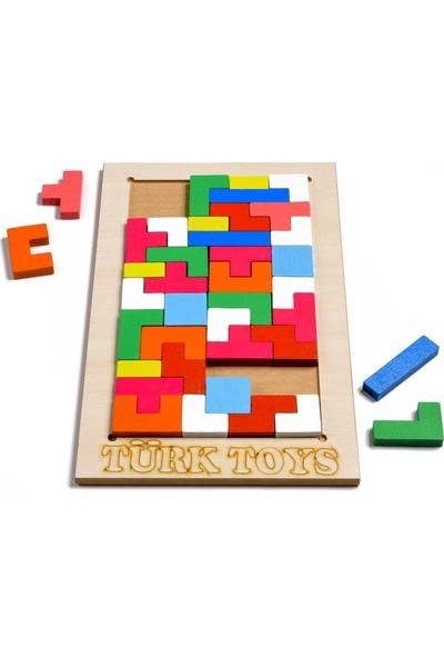 Türk Toys Ahşap Puzzle 2'si 1 Arada Set Geometri-Tetris