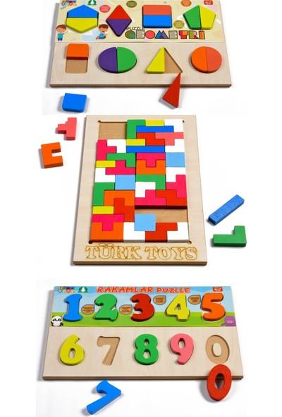 Türk Toys Ahşap Puzzle 3'ü 1 Arada Set Tetris-Geometri-Sayılar