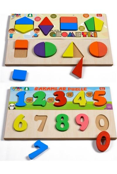Türk Toys Ahşap Puzzle 2'si 1 Arada Set Geometri-Sayılar