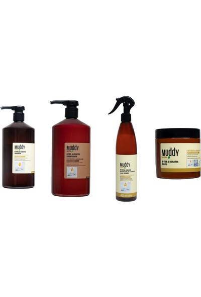 Muddy B-Tox & Keratin 4 Parça Bakım Seti B-Tox Şampuan+B-Tox Conditioner Krem+B-Tox Spray+B-Tox Mask