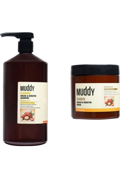 Muddy Yıpranmış ve Zayıflamış Saçlar İçin Onarıcı Cabın Argan & Keratin Bakım Seti