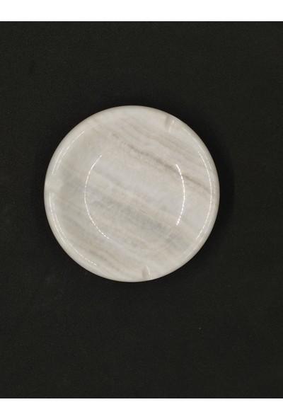 Pergamon White Onyx Mermer Küllük Yuvarlak