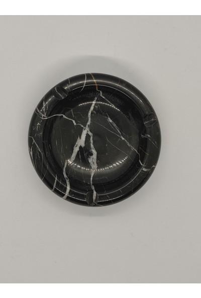 Pergamon Siyah Yuvarlak Mermer Küllük