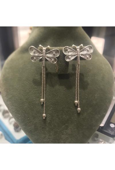 Bigakan Gümüş Küpe Yusufçuk Model Kuyruklu Gümüş Küpe