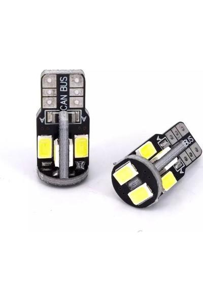 Sisa T10 LED Metal Ultra W5W 10 Ledli Beyaz Park Tavan Plaka Ampülü 2 Adet