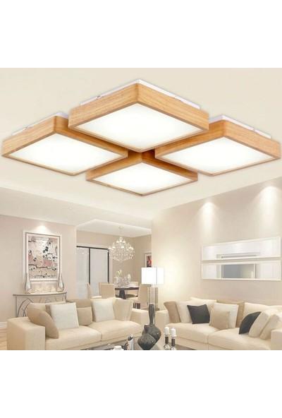Wood Design World Ahşap Çerçeve Tavan LED Aydınlatma Avize