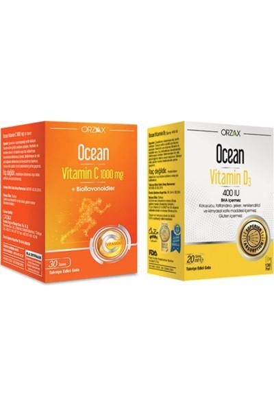 Orzax D3 Vitamin 400 Iu Sprey 20 ml +Vitamin C 1000MG 30 Tablet
