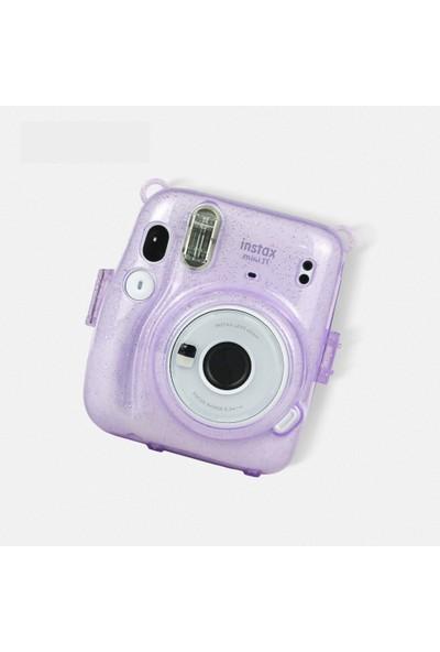 Trendfone Fujifilm Instax Mini 11 Simli Şeffaf Kılıf-Koruyucu Sert Plastik