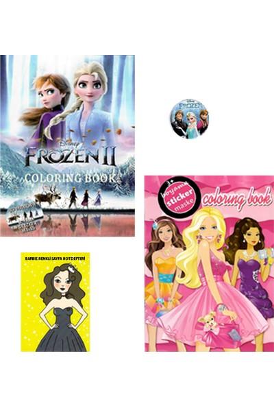 Frozen ve Barbie 3'lü (Sticker - Maske - Boyama) Kitabı Metal Rozet ve Not Defteri