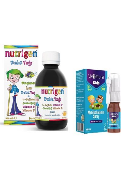 Nutrigen Çocuklar Için Vitamin Seti -Balık Yağı Şurubu 200 ml + Venatura Kids B12 Vitamini 5 ml Sprey