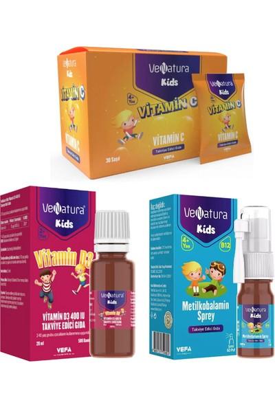 Venatura Çocuklar Için Vitamin SETI-B12 Vitamini 5ml Sprey+C Vitamini 30 Saşe+D3 Vitamini 20ML Damla