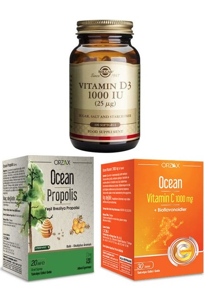 Solgar Orzax D3 Vitamini 1000 Iu 100 Kapsül + Ocean Propolis Sprey 20 ml + C Vitamini 1000MG 30 Tablet
