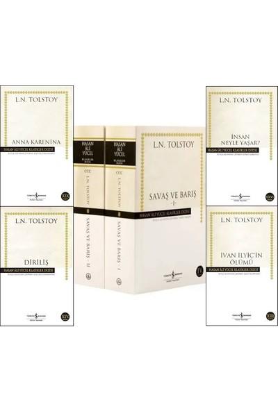 İş Bankası Hasan Ali Yücel Klasikeri Tolstoy 5 Kitap Set (Anna Karenina, Diriliş, Savaş ve Barış 2 Cilt, İnsan Neyle Yaşar, İvan İlyiç'in Ölümü)