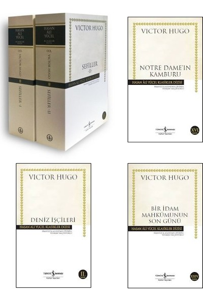 İş Bankası Hasan Ali Yücel Klasikleri Victor Hugo 4 Kitap Set (Sefiller 2 Cilt, Notre Dame'in Kamburu, Deniz İşçileri, Bir İdam Mahkumunun Son Günü)