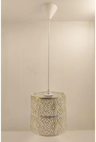 365gunserisonu Otantik Eskitme Beyaz Metal Kafes Çiçek Desen Tekli Sarkıt Avize Aydınlatma