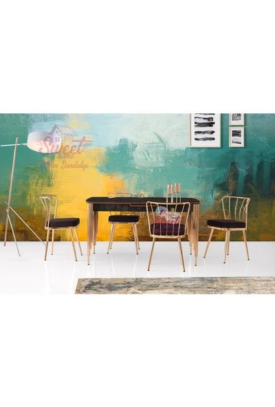 Sweet Home Milano Mdf H.gloss Irony Masa +4 Adet Güneş Sandalye Takım