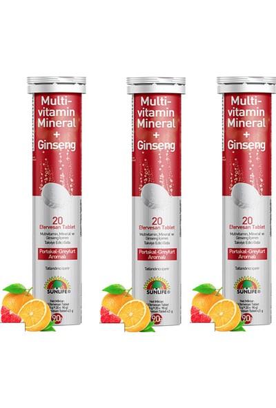 Sunlife Multivitamin & Mineral + Ginseng Efervesan 20 Tablet x 3 Adet
