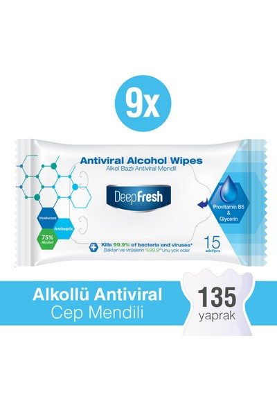 Deep Fresh Alkollü Antiviral Islak Cep Mendili 9 x 15 Yaprak