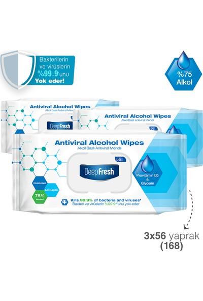 Deep Fresh Alkollü Antiviral Islak Mendil 3 x 56 Yaprak