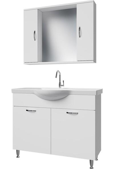 Banos KL1 Metal Ayaklı 2 Kapaklı Lavabolu Beyaz Mdf 100 cm Banyo Dolabı + Aynalı Banyo Üst Dolabı