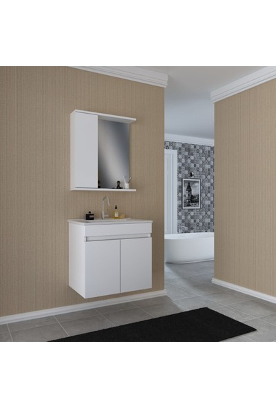 Banos KL3 Ayaksız 2 Kapaklı Lavabolu Beyaz Mdf 65 cm Banyo Dolabı + Aynalı Banyo Üst Dolabı