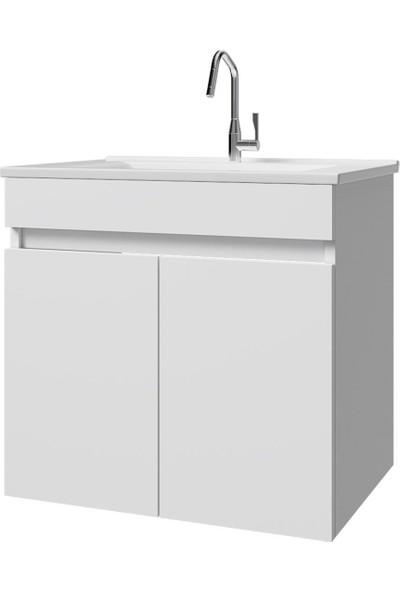 Banos LD3 Ayaksız 2 Kapaklı Lavabolu Beyaz Mdf 65 cm Banyo Dolabı