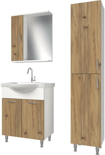 Banos KT5 Metal Ayaklı 2 Kapaklı Lavabolu Ceviz Beyaz Mdf 65 cm Banyo Dolabı + Aynalı Banyo Üst Dolabı + Banyo Boy Dolabı