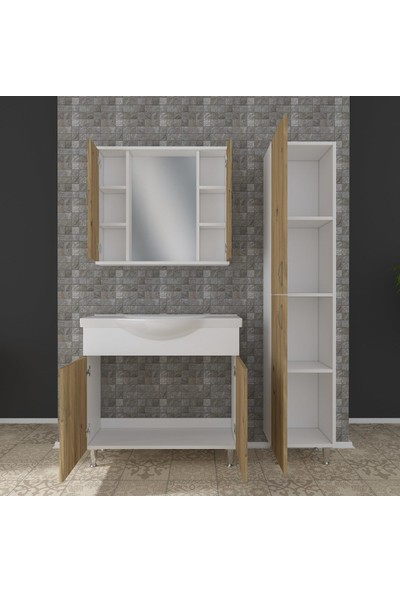 Banos KT5 Metal Ayaklı 2 Kapaklı Lavabolu Ceviz Beyaz Mdf 80 cm Banyo Dolabı + Aynalı Banyo Üst Dolabı + Banyo Boy Dolabı