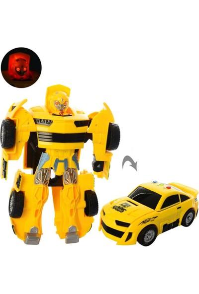 Elifeshop Robota Dönüşebilen Işıklı Müzikli Çarpınca Açılan Mecha Oyuncak Araba Sarı