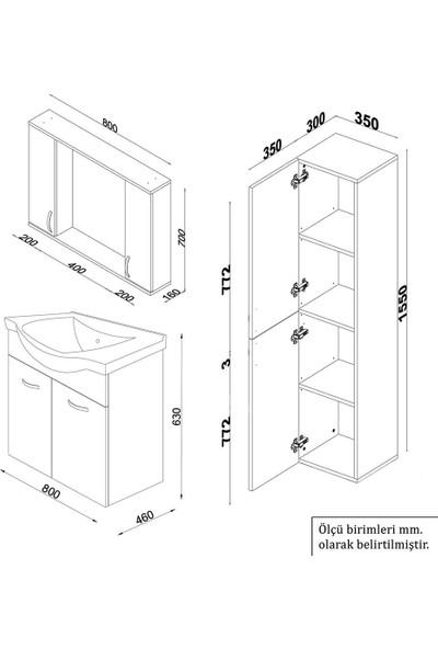 Banos KT6 Ayaksız 2 Kapaklı Lavabolu Ceviz Beyaz Mdf 80 cm Banyo Dolabı + Aynalı Banyo Üst Dolabı + Banyo Boy Dolabı